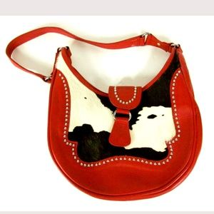 American West Red Leather Cowhide Tooled Handbag